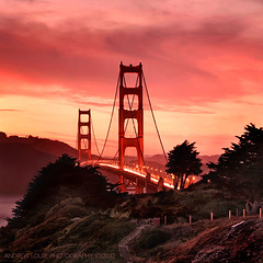 The Golden Gate Bridge - West Point (Andrew Louie Photography) Tags: ocean california park bridge sunset sun west love beach rose set clouds canon square point golden petals spring gate san francisco warm peace baker pacific marin andrew panoramic romance marshall burn passion headlands louie carefree conservancy