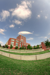 UNCC Library / HDR (Jonathan Hartzell / the Archangel) Tags: sky architecture clouds nc nikon raw charlotte north gimp fisheye carolina 8mm hdr bower lightroom d90 photomatix samyang rokinon