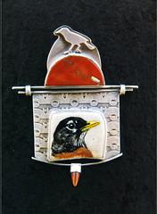 Ali Wieboldt (Piedmont Craftsmen : A Fine Craft Guild) Tags: robin watercolor jasper acrylic pin jewelry 14k antler carnelian deerantler aliwieboldt