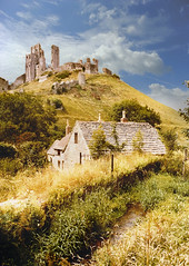 Corfe Castle (Beardy Vulcan) Tags: summer england castle stream village cottage ruin july dorset 1983 purbeck corfecastle motte isleofpurbeck