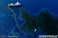 Capturing Oil? (Greenpeace USA 2016) Tags: ocean usa gulfofmexico louisiana ship gulf shell greenpeace aerial oil drilling skimming fossilfuel breakfree cleanenergy portfourchon
