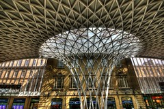 Kings Cross HDR (Raphooey) Tags: city uk roof england london station canon eos cross framed steel capital rail railway structure kings frame gb curve curved hdr terminus photomatix 70d