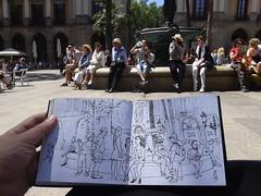 La Plaa dibuixa (Fotero) Tags: barcelona ink fuente email line pluma dibujo usk plazareal tinta linea cuaderno estilografica urbansketching urbansketch urbansketcher cuaderno9