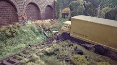 Working At Colliery Sidings. (ManOfYorkshire) Tags: scale work bedford model track workmen box gang railway trains lorry britishrail diorama repairs tk colliery 176 replacing shunting sidings oogauge