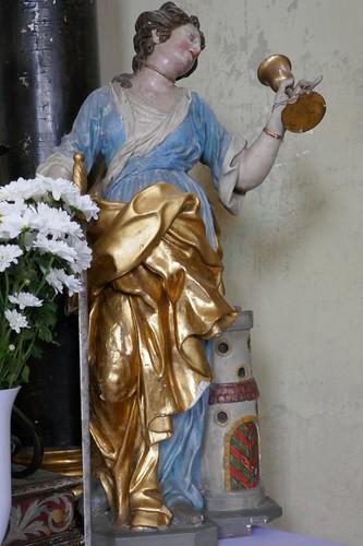 Figura św. Barbary (1728, Klahr Starszy) w kościele Podwyższenia Krzyża Świętego w Konradowie