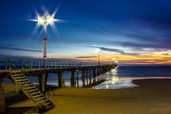 Port Noarlunga Jetty, South Australia (justinedwards4) Tags: ocean longexposure blue sunset sky sun seascape beach water stairs lights sand colours sundown jetty australia calm handrail local railing southaustralia landscae portnoarlunga