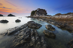Beautiful Kapas Island (Adly Wook) Tags: ocean trip travel sunset red sea sky cloud seascape texture rock stone composition canon seaside malaysia serene terengganu