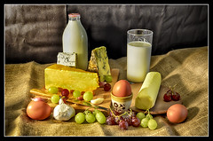 The Dairy (IAN GARDNER PHOTOGRAPHY) Tags: stilllife fruit cheese milk border butter grapes garlic eggs dairy milkbottle hdraward