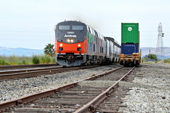 Amtrak 6 (caltrain927) Tags: california ca city railroad heritage train paint pacific union siemens special amtrak zephyr passenger scheme interest fairfield 156 unit suisun amtk acs64