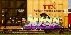 Nise (mightyquinninwky) Tags: graffiti tan jazz indiana railway tags cargo tagged southernindiana railcar transportation rails spraypaint boxcar fos railfan evansville nise fma ttx railart spraypaintart movingart benched evansvilleindiana dirtk paintedboxcar therailcarpoolingexperts