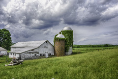 Barn and Silos (jsleighton) Tags: sky field grass barn landscape farm silo