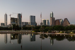 Austin Skyline [173/366] (timsackton) Tags: building water architecture skyscraper austin lights evening pond cityscape texas unitedstates time skylines views 365photoproject