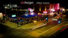 Zinburger Restuarant (Techjunkie00) Tags: street cars night speed corner buildings lights nightlights slow shutter gilbert streetcorner