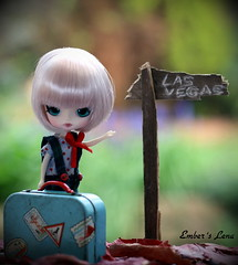 Goodbye for two weeks! (pure_embers) Tags: uk las vegas holiday cute girl sign garden doll dolls little dal mini pullip humpty dumpty suitcase pure embers
