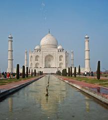 Taj Mahal fountain view low