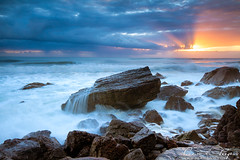 the australian coast (Pawel Papis Photography) Tags: ocean morning sky cloud sun seascape blur beach water rock stone sunrise landscape bright miami wave australia spray clean foam splash goldcoast