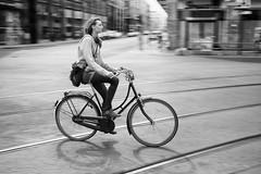 Berlin (_markforbes_) Tags: blackandwhite bw berlin girl bike bicycle germany streetphotography cityscapes riding fujifilm x100 fujix vsco