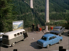 Volkswagen Type 1 Bus and Ford Popular 100E 1963 (Trigger's Retro Road Tests!) Tags: life from bus classic cars ford film look car volkswagen 1 dvd europe december shot screen retro together type 1960s grab popular 1963 grows 100e