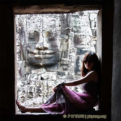 Under The Khmer Smile (P H Yang Photography) Tags: girl face stone cambodia massive serene siemreap bayon angkorthom khmersmile hkpcapril2012