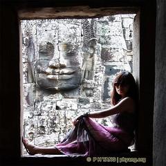Under The Khmer Smile (P H Yang Photography) Tags: girl face stone cambodia massive serene siemreap bayon angkorthom khmersmile hkpcapril2012