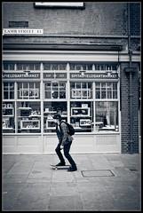 Skateboard (chris rs197) Tags: monochrome skateboard fujifilm e1 spitalfieldsmarket eastlondon lambstreet lomographystore fujix100