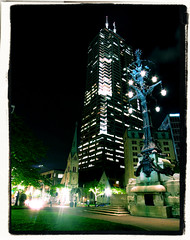 Chase Tower (IndyLL) Tags: nightphotography monument skyscraper circle downtown indianapolis indiana crossprocessing citycenter chasetower indianapolisskyline nikonp300 nikoncoolpixp300
