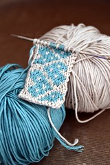 Jacquard | Knitting (Zoo*) Tags: blue white macro tricot knitting heart sable knit coeur coton bleu dmc jacquard d3100