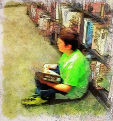 A boy with his books (Jack Mallon) Tags: boy people art painting child candid books read iphone iphoneography