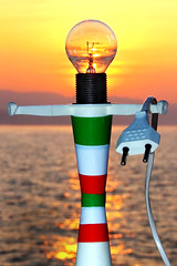 Unplug Nuclear Energy - Choose natural and / or renewable energies!!! (castgen) Tags: sunset red sea italy orange sun mer white black verde green blanco luz yellow lightbulb marina ja