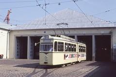 1991-09, Freiburg, Depot Komturstrasse (Fototak) Tags: tram 102 sputnik freiburg vag strassenbahn tranvia