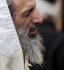 """Out of my straits I called upon the LORD; He answered me with great enlargement."" (ybiberman) Tags: portrait man israel jerusalem pray devotion oldcity passover westernwall jewishquarter talit wailingwall alquds"