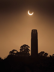 Coit Tower & Solar Eclipse (mikeSF_) Tags: california sun moon tower mike silhouette solar eclipse san francisco waterfront pentax hill crescent filter embarcadero tamron telegraph 70200 coit k5 density hoya neutral oria annular nd400 9stop