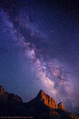 "Milky Way over The Watchman (IronRodArt - Royce Bair (""Star Shooter"")) Tags: longexposure mountain lightpainting stars nightscape timeexposure zionnationalpark constellations nightscapes zions milkyway thewatchman diamondclassphotographer flickrdiamond starrynightsky canoneos5dmarkiii 5dmkiii"
