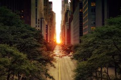 Manhattanhenge on May 31, 2012 (mudpig) Tags: road nyc newyorkcity sunset sunlight ny newyork reflection tree skyline geotagged nikon glow cityscape traffic manhattan bankofamerica gothamist rays eastside f28 hdr manhattanhenge 42ndstreet tudorcity mudpig stevekelley d3s 1424mm manhattenhenge stevenkelley
