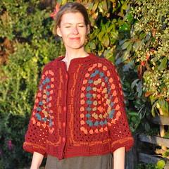 Crocheted granny shrug (front) (Kiwi Little Things) Tags: handmade crochet cardigan shrug grannysquare