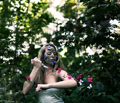 Hunter (Sophia Alexis) Tags: portrait colors girl face forest self butterfly hair blood hands paint arm bokeh knife hunter