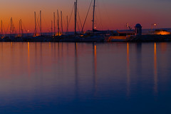 Harbour lights (Steve-h) Tags: longexposure sea holiday macro tourism beach nature sport photoshop sunrise canon reflections lens eos dawn mirror seaside spain sand mediterranean sailing control harbour release tripod tourists andalucia resort adobe shutter wireless remote costadelsol yachts andalusia sporting masts seashore marbella lightweight lockup velbon steveh holidaysvacanzeurlaub canoneos5dmkii canoneos5dmk2 lightroom41 canonef100mmf28lmacroisusm