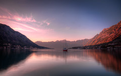 Sunset In The Bay Of Kotor , Montenegro (Greg Weeks Photography) Tags: pink sunset sky water clouds sailboat bay hdr montenegro kotor canon5dmarkii