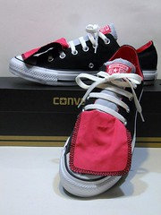 Double Tongue - Hot Pink, Black & Grey Ox (hadley78) Tags: world shoe star all joshua top ripleys lo ox guinness collection converse taylor record cons chuck hi chucks largest mueller thatconverseguy