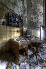 Engine Room Desk (Fine ArtFoto) Tags: old urban abandoned germany paper desk decay room urbandecay engine urbanexploration rotten derelict decaying oblivion urbex paperfactory lostplaces papierfabrik lostplace aufgegeben