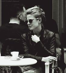 Portrait (Natali Antonovich) Tags: brussels portrait monochrome sunglasses glasses cafe belgium belgique belgie lifestyle tradition relaxation terras sablon reverie dezavel sweetbrussels