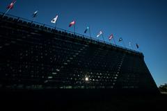 2016 U.S. Open - Grandstand (brerwolfe) Tags: sunset sky sun pittsburgh pennsylvania seat bluesky flags usga seats lensflare bleachers starburst clearsky settingsun usopen oakmont 2016 grandstands oakmontcountryclub