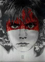 My U2 war drawing intervention (Esteban Candia) Tags: portrait dublin art argentina rock pencil u2 buenosaires war expo drawing retrato coverart drawings exhibit cover pomo 80s lp draw portfolio brit graphite grafito u2war