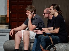 Three Men and a Smoke (mikecogh) Tags: dublin men bench break smoking cups shorts