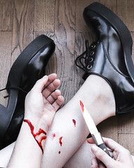 J203 (charlotte.boullier) Tags: projet365 365project 365days 365challenge girl shoes highheels black blood cut knife depressed sad sadness scarification fake dark weird strange photography colors people red hurt injury notch scar