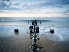 Sidestrand 08/07/2016 (Matthew Dartford) Tags: ocean uk longexposure beach water coast sand waves norfolk wave symmetry wash coastal bluehour tones defences movment eastanglia groynes sidestrand