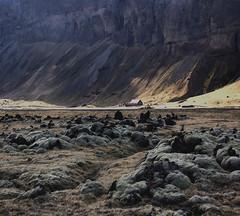 Blue cliffs and lava (Sverrir Thorolfsson) Tags: landscape lava iceland moss cliffs southcoast sland mountainrange sverrirrlfsson mossonlava