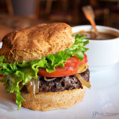 Gluten Free Trumpeter Burger (gapey) Tags: food lunch restaurant olympus burgers skagit organic mountvernon trumpeter epm1 penready pen929