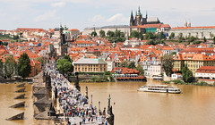 Prague is very beautiful city! (Zahadam Industries) Tags: city travel bridge people panorama travelling castle beautiful river photography nikon republic czech prague capital charles praha center historic most vltava hrad d60 karlv msto eka prask ndhern