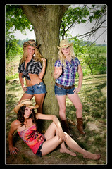 Cowgirls! (sbrian28 (Silvertouch Photography)) Tags: girls woman west tree cute beautiful nikon pretty farm country hats indiana attitude western decatur nik cowgirl alienbee cowgirls onone daisydukes lightroom shortshorts ac3 pocketwizard colorefex b800 ac9 sigma1750mm d7000 niksharpenerpro minitt1 flexxtt5